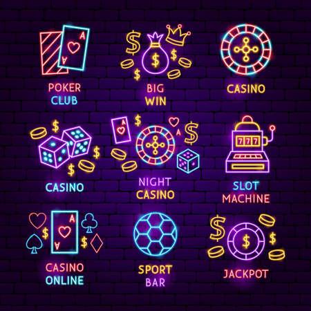 Casino Game Neon Label Set. Vector Illustration of Game Promotion. Illustration