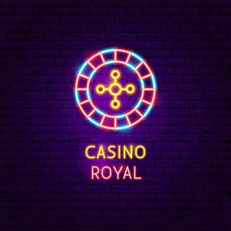 Casino Royal Neon Label. Vector Illustration of Game Promotion.
