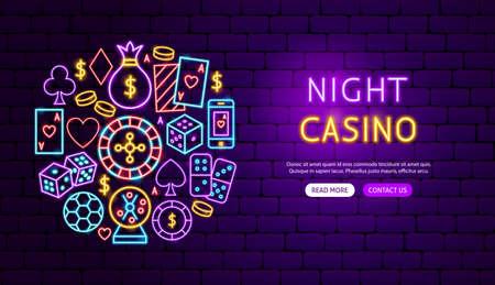 Diseño de banner de neón de casino nocturno Ilustración de vector