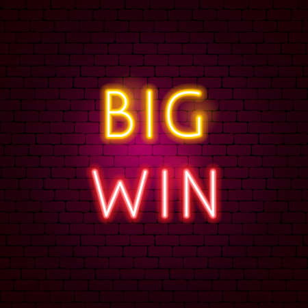 Big Win Neon Sign. Vector Illustration of Game Promotion.