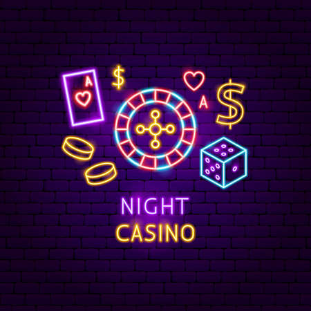 Night Casino Neon Label. Vector Illustration of Game Promotion.