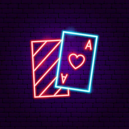 Playing Card Ace Neon Sign. Vector Illustration of Game Promotion. Illustration