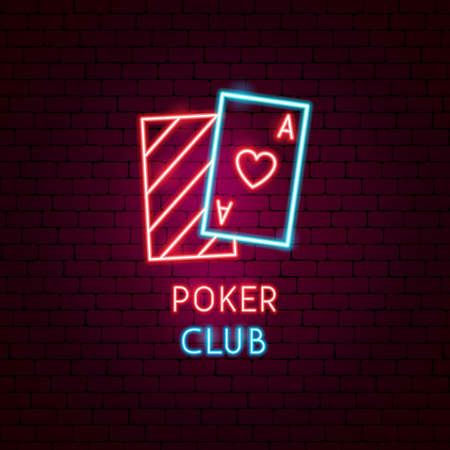 Poker Club Neon Label. Vector Illustration of Game Promotion.