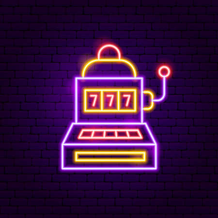 Slot Machine Neon Sign. Vector Illustration of Game Promotion.