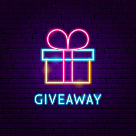 Giveaway Neon Label. Vector Illustration of Celebration Promotion. Vector Illustration