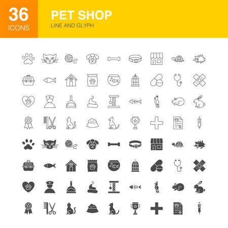 Pet Shop Line Web Glyph. Vector Illustration of Animals Outline and Solid Symbols. Vecteurs