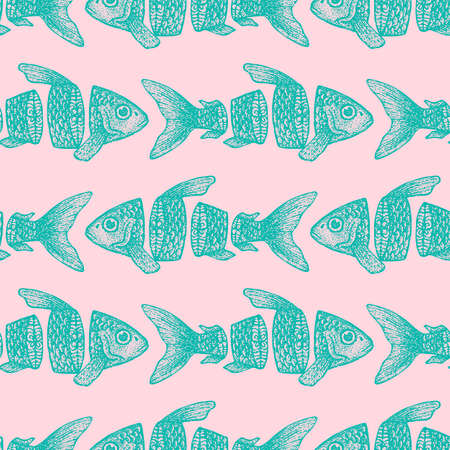 Hipster Sliced Fish Seamless Pattern. Vector Illustration of Tattoo Hand Drawn Sketch. Фото со стока - 124128965