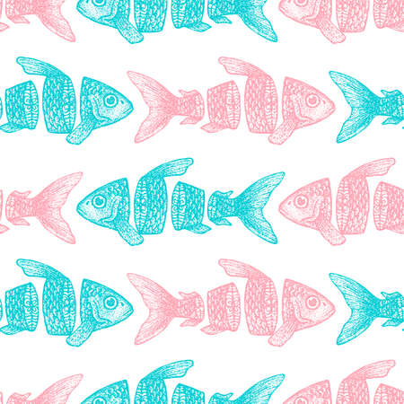 Sliced Fish Seamless Pattern. Vector Illustration of Tattoo Hand Drawn Sketch. Фото со стока - 124128975