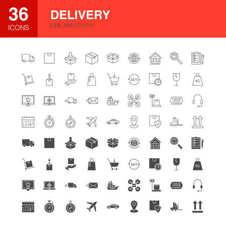Delivery Line Web Glyph Icons. Vector Illustration of Logistics Outline and Solid Symbols.