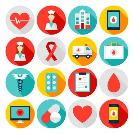 Iconos planos de salud de medicina