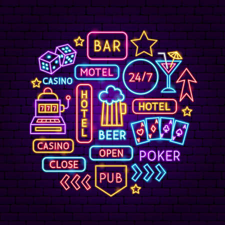 Street Sign Neon Concept. Vector Illustration of Bar Promotion.