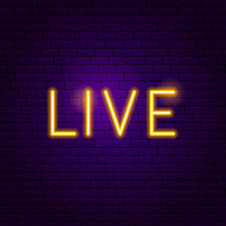 Live Neon Label. Vector Illustration of Online Promotion. Illustration