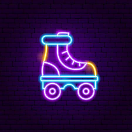 Roller Skate Neon Label. Vector Illustration of Sport Promotion.
