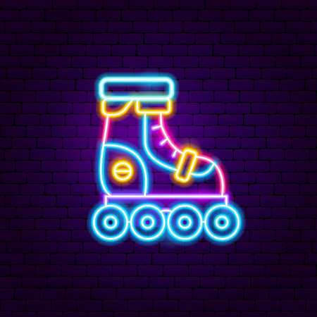 Roller Skating Neon Label. Vector Illustration of Sport Promotion. Illustration