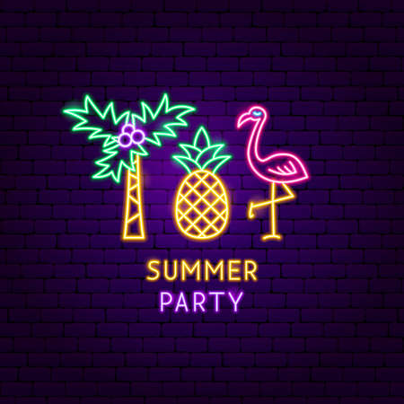 Summer Party Neon Label. Vector Illustration of Vacation Promotion.