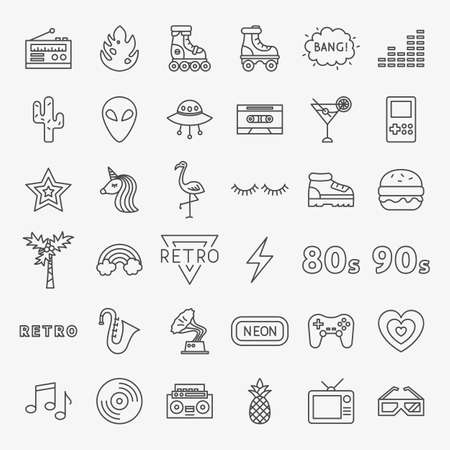 Retro Line Icons Set