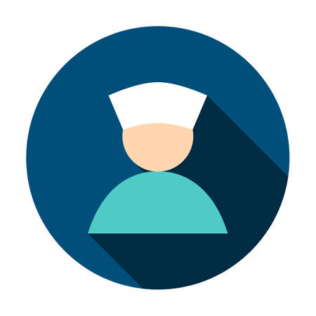Man Doctor Avatar Circle Icon. Vector Illustration with Long Shadow. Medicine Item. Illustration