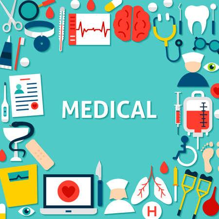 Medical Paper Template. Vector Illustration Flat Style Business Concept. Ilustración de vector