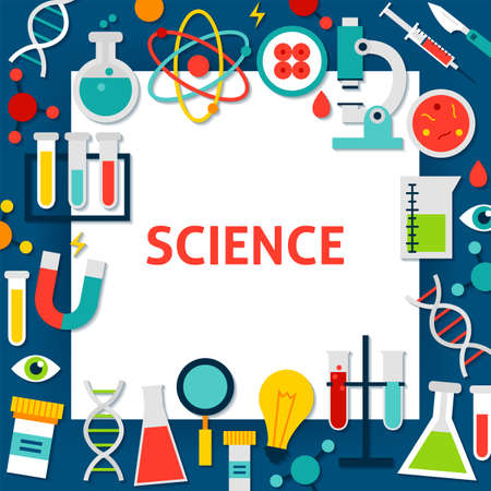 Science Paper Template. Vector Illustration Flat Style Education Concept.
