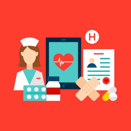 Health Care Clinic Concept Vektoros illusztráció