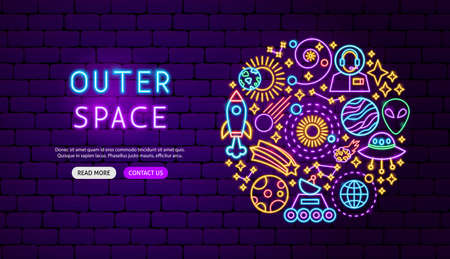 Outer Space Neon Banner Design