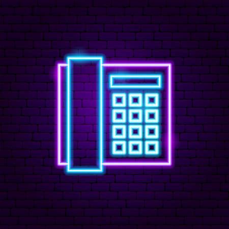 Office Phone Neon Label
