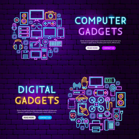 Computer Gadgets Website Banners. Vector Illustration of Electronics Promotion.  イラスト・ベクター素材