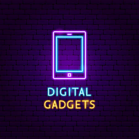 Digital Gadgets Neon Label. Vector Illustration of Electronics Promotion.