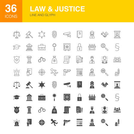 Law Justice Line Web Glyph Icons. Vector Illustration of Crime Outline and Solid Symbols.
