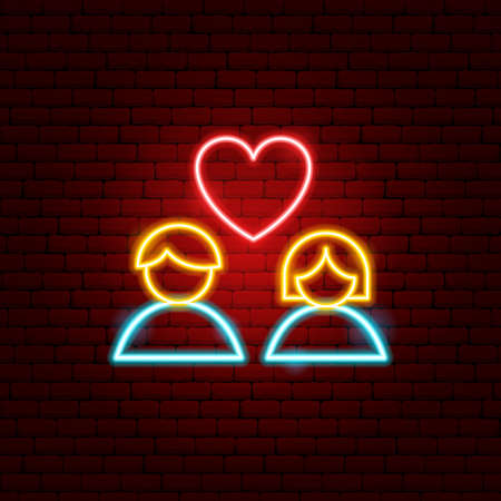 Heart Couple Neon Sign Illustration