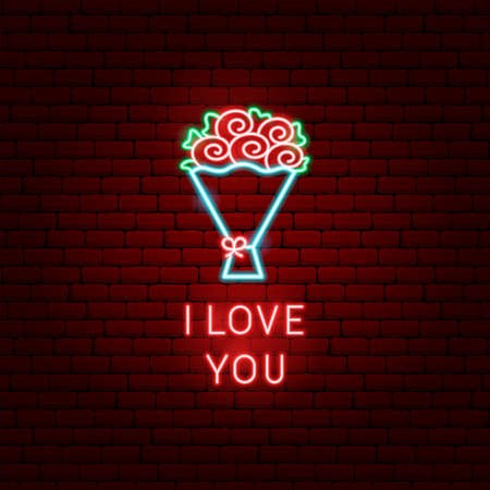 I Love You Flowers Neon Label Banque d'images - 127899328