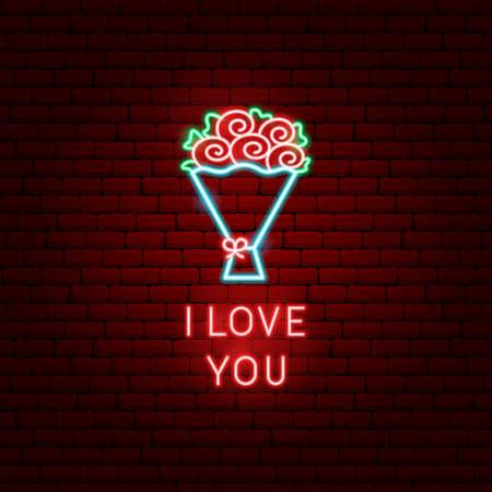 Te amo, flores, neón, etiqueta