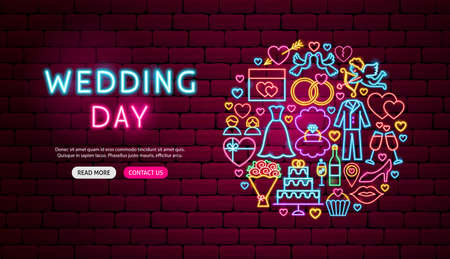 Wedding Day Neon Banner Design 向量圖像