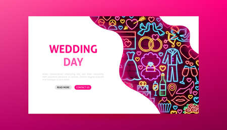 Wedding Day Neon Landing Page