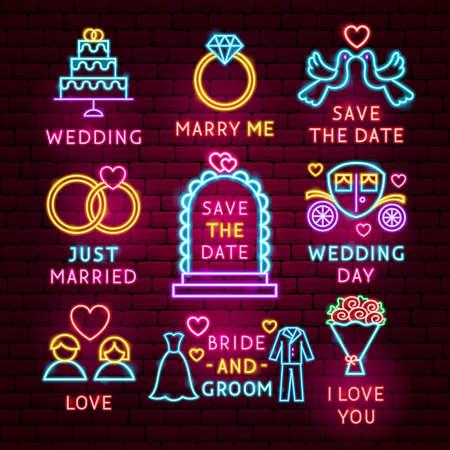 Wedding Neon Label Set