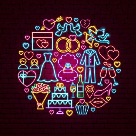 Wedding Neon Concept Stock Illustratie