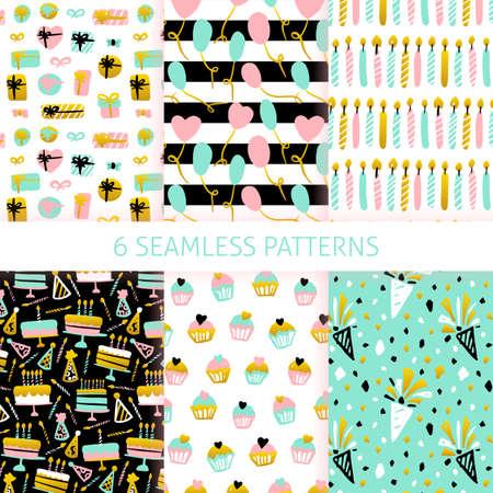 Happy Birthday Seamless Patterns. Vector Illustration of Trendy Greeting Background. Ilustração