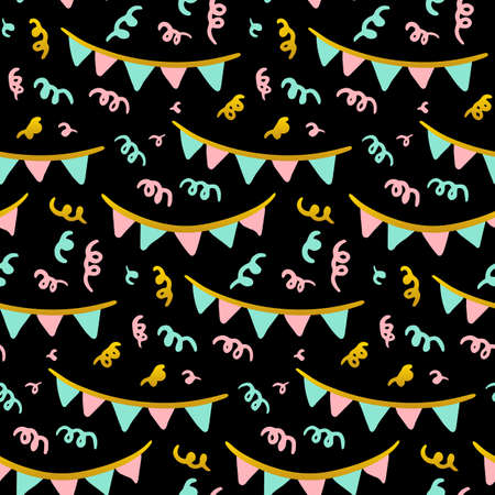 Party Flags Seamless Pattern. Vector Illustration of Trendy Greeting Background. Ilustração