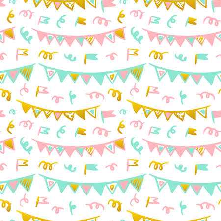 Flags Handdrawn Seamless Pattern. Vector Illustration of Trendy Greeting Background.