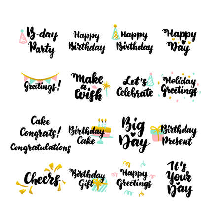 Happy Birthday Hand Drawn Quotes. Vector Illustration of Handwritten Lettering Holiday Design Elements.