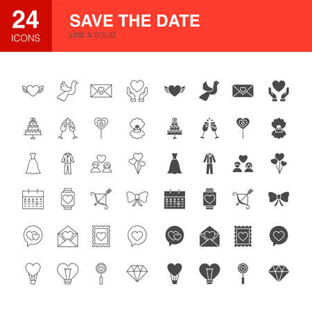 Save the Date Line Web Glyph Icons Ilustracja