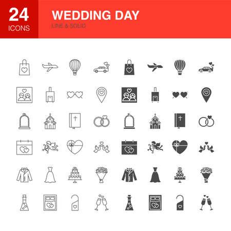 Wedding Day Line Web Glyph Icons