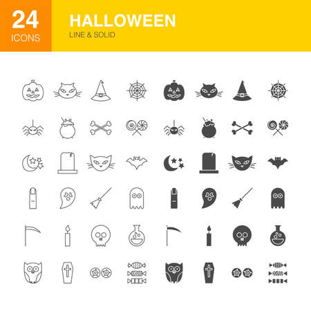 Halloween Line Web Glyph Icons
