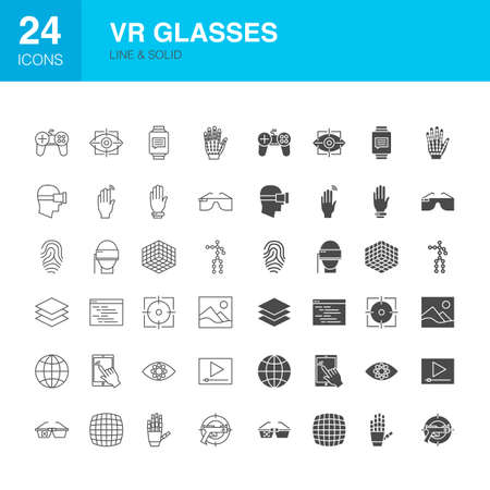 VR Glasses Line Web Glyph Icons