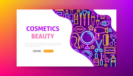Cosmetics Beauty Neon Landing Page 向量圖像