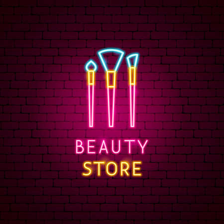 Beauty Store Neon Label Vettoriali