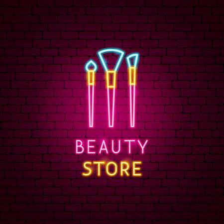 Etiqueta de neón de la tienda de belleza Ilustración de vector
