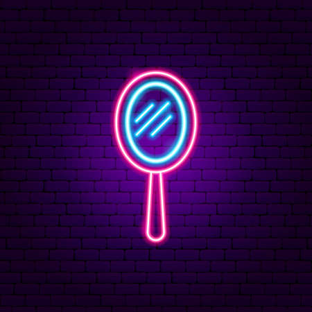 Hand Mirror Neon Sign Vectores