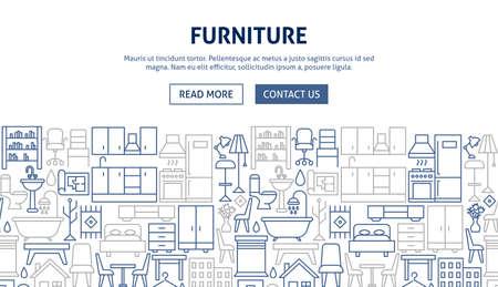 Diseño de Banner de muebles. Ilustración de vector de diseño de esquema.