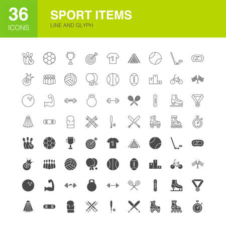 Sport Items Line Web Glyph Icons